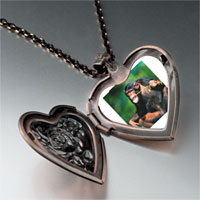 Necklace & Pendants - funny monkey heart locket pendant necklace Image.