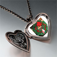Necklace & Pendants - santa wreath heart locket pendant necklace Image.