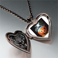 Necklace & Pendants - jack o lantern halloween pumpkin pirate heart and rose pendant Image.