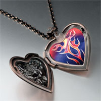 Items from KS - painted fire flames heart locket pendant necklace Image.
