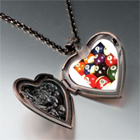 Necklace & Pendants - pool ball set heart locket pendant necklace Image.