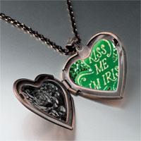 Necklace & Pendants - kiss i' m irish heart locket pendant necklace Image.
