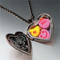 Items from KS - valentine heart halloween candy heart locket pendant necklace Image.