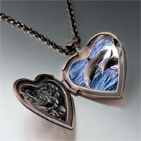 Necklace & Pendants - dolphin family photo heart locket pendant necklace Image.