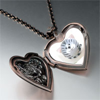 Necklace & Pendants - puffball grey stripes cat heart locket pendant necklace Image.