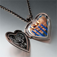 Items from KS - blue hanukkah candles heart locket pendant necklace Image.