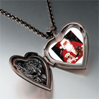 Necklace & Pendants - dogs on santa' s lap heart locket pendant necklace Image.
