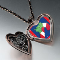 Necklace & Pendants - halloween candy cane quilt square heart locket pendant necklace Image.