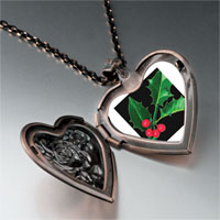 Necklace & Pendants - holly leaf photo heart locket pendant necklace Image.