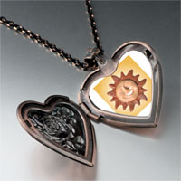 Necklace & Pendants - terra cotta sun heart locket pendant necklace Image.