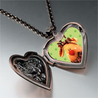 Items from KS - christmas rudolph reindeer photo heart locket pendant necklace Image.