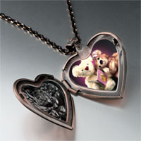 Necklace & Pendants - teddy bear story time heart locket pendant necklace Image.