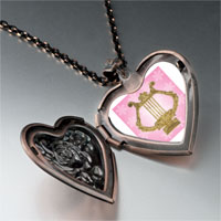 Necklace & Pendants - golden lyre heart locket pendant necklace Image.