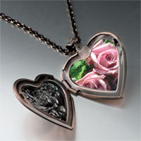 Necklace & Pendants - dusty pink roses heart locket pendant necklace Image.
