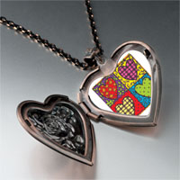 Items from KS - heart quilt heart locket pendant necklace Image.