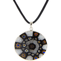 Mothers Day Gifts Black White Millefiori Murano Glass Necklace Pendant