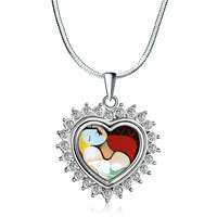 Necklace & Pendants - heart love silver tone clear white crystal diamond accent pendant necklace Image.