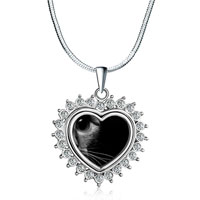 Necklace & Pendants - heart love silver tone clear white crystal pendant necklace Image.