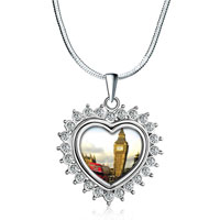 "Necklace & Pendants - heart love silver tone clear white crystal diamond accent pendant necklace  18"" Image."
