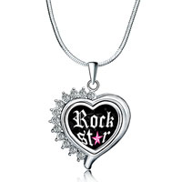 Necklace & Pendants - heart love silver tone clear white crystal photo pendant necklace Image.