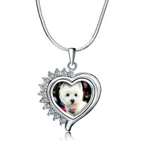 Necklace & Pendants - silver tone clear white crystal diamond accent heart love pendant necklace Image.