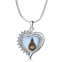 Necklace & Pendants - heart love clear white crystal silver tone diamond accent pendant necklace Image.