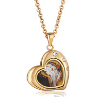 Necklace & Pendants - 18 k gold plated heart love clear white crystal pendant necklace Image.