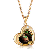 Necklace & Pendants - heart love18 k gold plated clear white crystal pendant necklace Image.