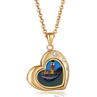 "Necklace & Pendants - heart love 18 k gold clear white crystal diamond accent pendant necklace  18"" Image."