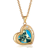 Necklace & Pendants - 18 k gold plated cute giraffe clear white crystal heart love pendant necklace Image.