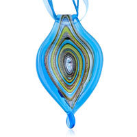 Murano Glass Blue Swirl Fused Dichroic Pendant Necklace