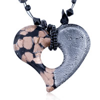 Murano Glass Half Black Gray Open Heart Pendant Necklace