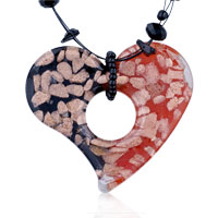 Murano Glass Half Black Red Open Heart Pendant Necklace