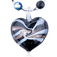 Mothers Day Gifts Murano Glass Golden White Stripe Decorated Heart Pendant Necklace