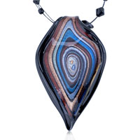 Murano Glass Black Red Blue Growth Ring Pendant Necklace