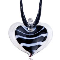 Murano Glass Black Stripes Heart Pendant Necklace