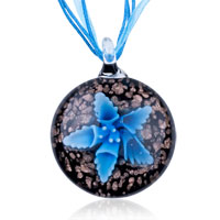 Murano Glass Blue Flower Black Dichroic Donut Pendant Necklace
