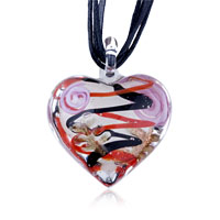 Murano Glass Black Red Zigzag Line Heart Pendant Necklace