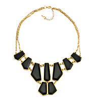 Golden Chain Black Lump Jaspery Adorned Pendant Statement Necklace