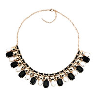 Statement Necklace Golden Chain Black White Jaspery Party Pendant