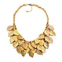 Statement Fashion Retro Golden Chain Dangle Chunky Leaf Pendant Necklace