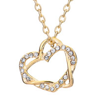Clear Crystal Cz 18 K Gold Plated Cross Hearts Pendant Necklace