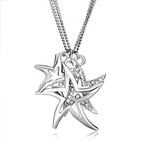 Silver Plated Three Starfish With Clear Crystal Cz Pendant Necklace Earrings