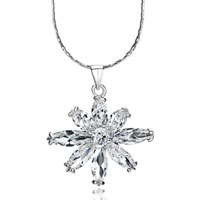 Snowflake With Clear Crystal Cz Pendant Necklace For Women Earrings