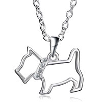 Silver Plated Clear Crystal Cz Cute Puppy Dog Pendant Necklace Earrings