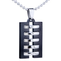 Men Jewelry Sterling Silver Black And Rectangle Stainless Steel Necklaces Pendant For Men