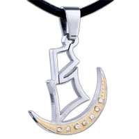 Mothers Day Gifts Men Jewelry Golden Crescent Moon Boat Stainless Steel Necklaces Pendant For Men