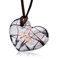 Classic Brown Black Heart Murano Glass Pendant Necklace