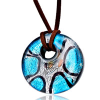 Pale Blue Black Stripes Round Murano Glass Pendant Necklace Earrings