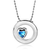Karma Silver Plated Circle Sapphire Blue Heart Crystal Cz Pendant Earrings